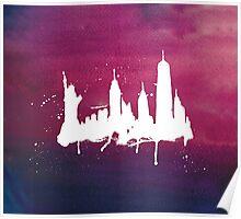 New York Watercolor Skyline Poster