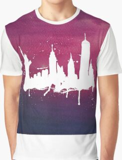 New York Watercolor Skyline Graphic T-Shirt