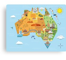 Graphic Map of Australia Canvas Print