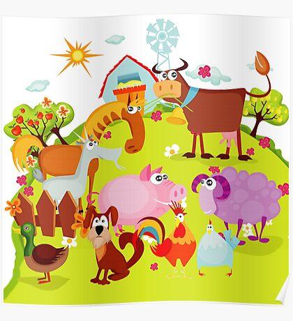 Farming Farm Animals Pig Cow Sheep Duck Poster