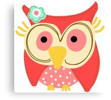 Animals Fun Cheery Cute Hoot Owl Canvas Print