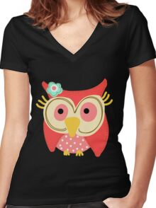 Animals Fun Cheery Cute Hoot Owl Women's Fitted V-Neck T-Shirt