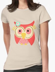 Animals Fun Cheery Cute Hoot Owl Womens Fitted T-Shirt