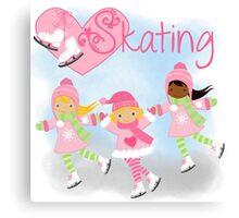 Girls Ice Skating Winter I Love Skating Canvas Print