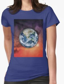 Planet Earth In Space Womens Fitted T-Shirt