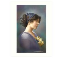 Colorized Vintage Young Beauty V Art Print