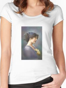 Colorized Vintage Young Beauty V Women's Fitted Scoop T-Shirt