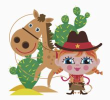 Western Theme Cowgirl With Horse Kids Tee