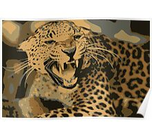Wild leopard in 7 colors Poster