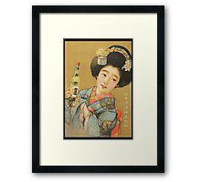 Woman in Blue Kimono Vintage Poster (PD) Framed Print