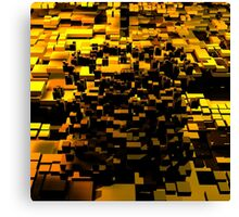 3D gold polygon cube Canvas Print