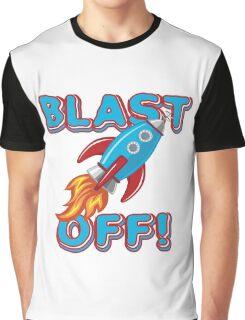 Space Rocket Ship Blast Off Graphic T-Shirt