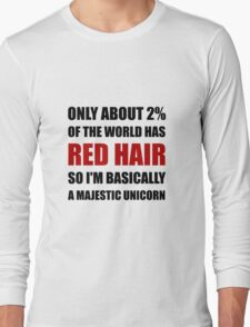 Red Hair Majestic Unicorn Long Sleeve T-Shirt