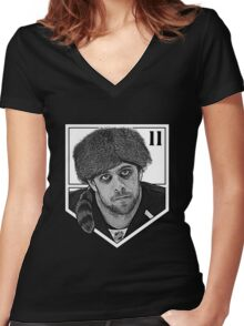 Coonskin Anze Kopitar Tee - LA Kings (two-color design) Women's Fitted V-Neck T-Shirt