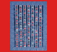 Flying Geese Quilt In Red, White And Blue Kids Tee