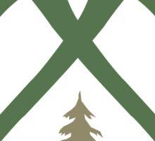 Axe Crossing Badge w/ Tree | Lumberjack Logo Sticker