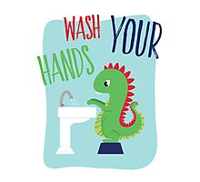 Wash Your Hands Cute Dinosaur Photographic Print