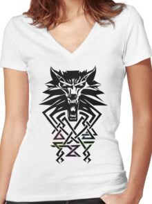 The Witcher - Big Witcher Medallion Women's Fitted V-Neck T-Shirt