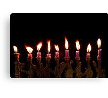 Purple Hanukkah Candles Menorah on Black Background Canvas Print