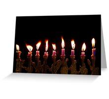 Purple Hanukkah Candles Menorah on Black Background Greeting Card