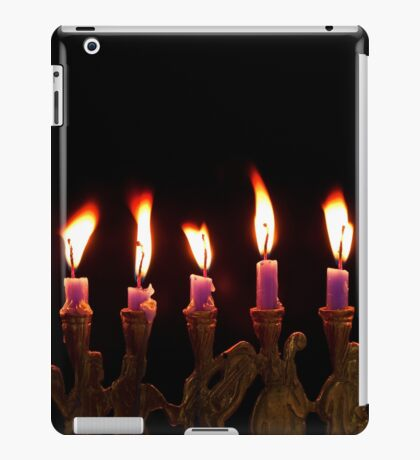 Purple Hanukkah Candles Menorah on Black Background iPad Case/Skin