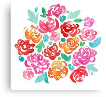 Peony & Roses on White Canvas Print