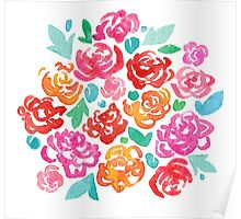 Peony & Roses on White Poster