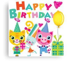 Cute Silly Animals Happy Birthday Canvas Print