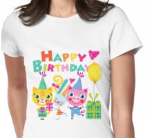 Cute Silly Animals Happy Birthday Womens Fitted T-Shirt