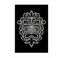 Stylish Gray and Black Mayan Mask Art Print