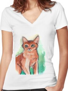 Abyssinian Cat Women's Fitted V-Neck T-Shirt