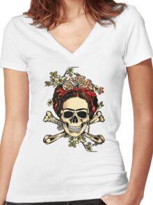 Masterpiece Skull Frida Women's Fitted V-Neck T-Shirt