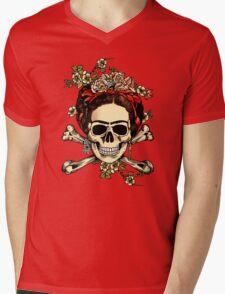 Masterpiece Skull Frida Mens V-Neck T-Shirt
