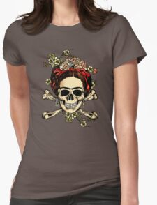 Masterpiece Skull Frida Womens Fitted T-Shirt
