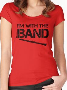 I'm With The Band - Clarinet (Black Lettering) Women's Fitted Scoop T-Shirt