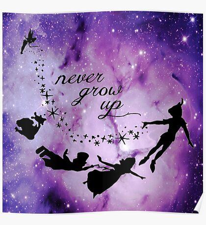 Never Grow Up Peter Pan Violet Nebula Poster