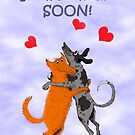 Two Dogs jumping for joy, Home Soon, Humour. by Mary Taylor