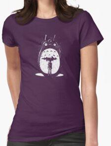 cute raining umbrela totoro Womens Fitted T-Shirt