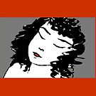 Ink Drawing of sleeping Girl with red frame. Graphic by Mary Taylor