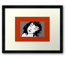 Ink Drawing of sleeping Girl with red frame. Graphic Framed Print