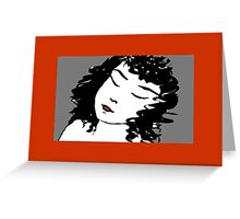 Ink Drawing of sleeping Girl with red frame. Graphic Greeting Card