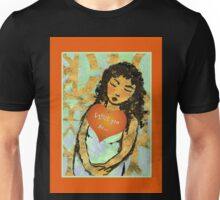 Golden Sleeping Girl with Love Heart. Unisex T-Shirt