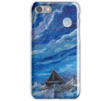 A Ship on the Sea at Night iPhone Case/Skin