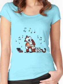 Lovely Calvin and Hobbes Listen Music Women's Fitted Scoop T-Shirt