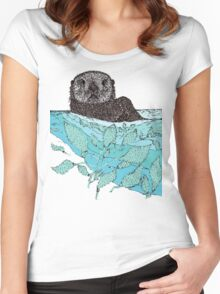 Sea Otter Sketch Color Women's Fitted Scoop T-Shirt