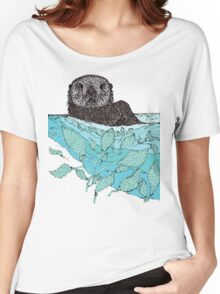Sea Otter Sketch Color Women's Relaxed Fit T-Shirt