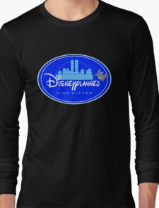 """DI$NEYPLANNED"" Blue Logo v.2  (dark color tees)  Long Sleeve T-Shirt"