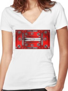 Red combi Volkswagen pattern Women's Fitted V-Neck T-Shirt