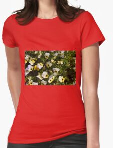 Yellow white flowers in the garden. Womens Fitted T-Shirt