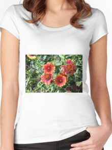 Red beautiful flowers in the garden. Women's Fitted Scoop T-Shirt